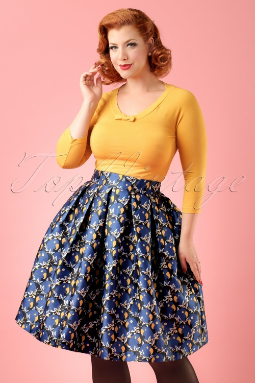 Louche Joyyous Parrot Skirt in Blue ModelfotocropW