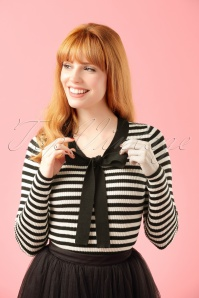 Fever Lacanau Black Creme Striped Top Modelfotow