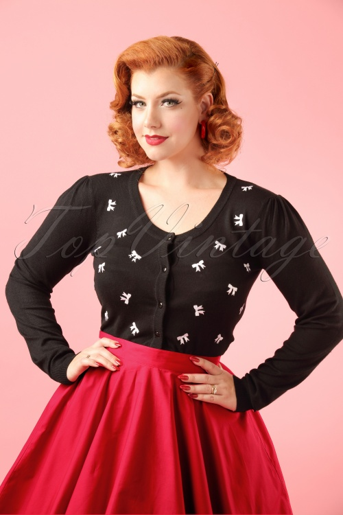 Banned Black White Sweet Emotions Bow Cardigan Modelfotow