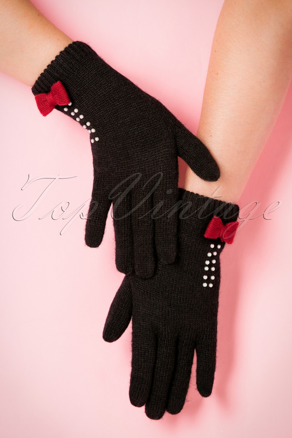 Vintage Style Gloves 50s Bow and Pearls Wool Gloves in Black £22.25 AT vintagedancer.com