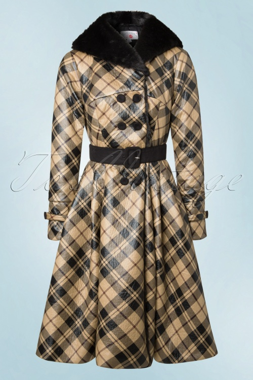 Miss Candyfloss Checked Faux Fur Winter Coat 152 79 19361 20160927 0003W
