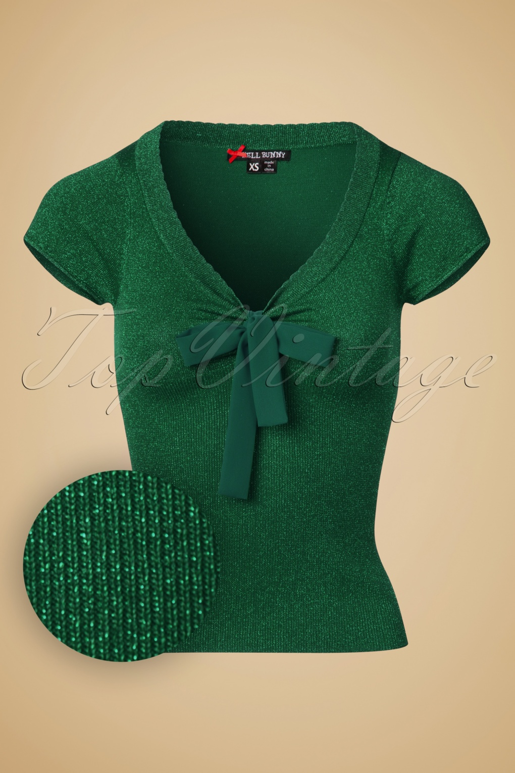 1950s Style Sweaters, Crop Cardigans, Twin Sets 50s Angette Sparkling Top in Green £39.08 AT vintagedancer.com