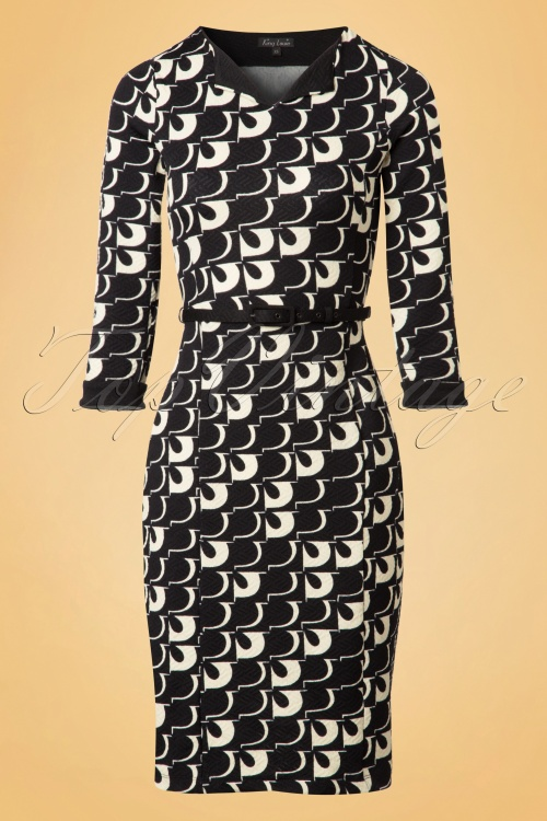 King Louie Audrey Black and Cream Pencil Dress 100 14 19122 20160927 0004w