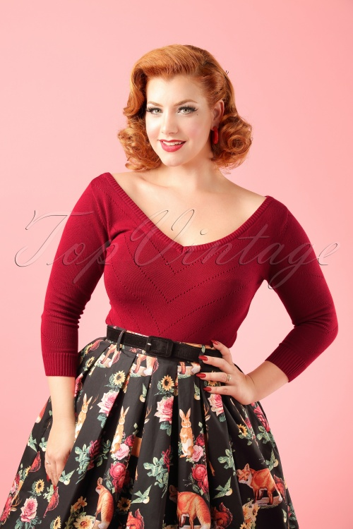 Collectif Clothing Bardot Boat Neck Top Red modelfotow