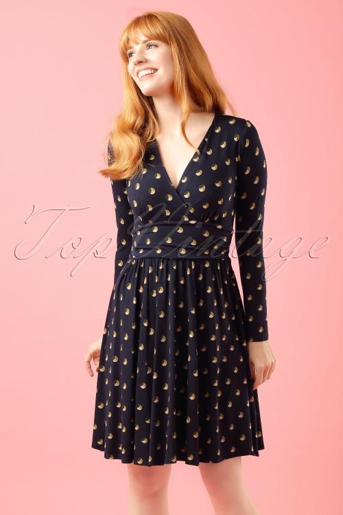 Closet London Circle Print Dress in Navy modelfotocropw