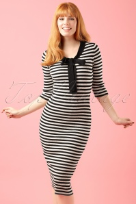 Fever Lacanau Dress in Black and White modelfotocropw