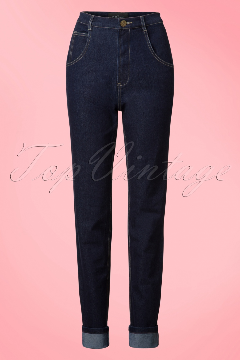 Vintage High Waisted Trousers, Sailor Pants, Jeans 50s Monroe Jeans in Denim Blue £45.40 AT vintagedancer.com