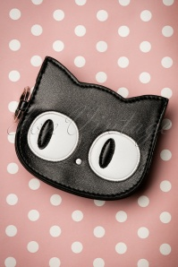 Banned Alternative Lizzy The Big Eyed Cat Small Wallet Années 60 en Noir