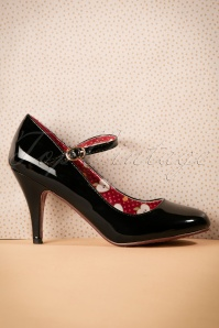 60s Jean Jeanie Lacquer Pumps in Black