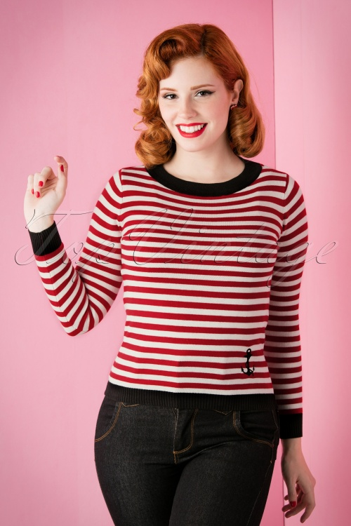 Collectif Clothing Sarah Nautical Red White Striped Sweather 110 27 13278 20151118 006W