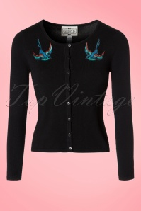 50s Jo Bird Cardigan in Black