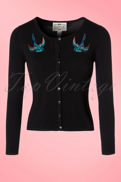Collectif Clothing Jo Vintage BlueBird Cardigan 10291 20160601 0007W