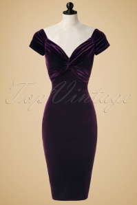 Vintage Chic Twist Bust Purple Velvet Dress 100 60 19633 20160928 0004pop