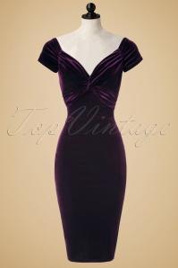 50s Glenda Velvet Pencil Dress in Purple