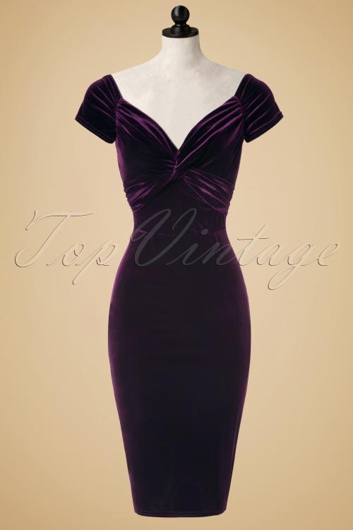 Vintage Chic Twist Bust Purple Velvet Dress 100 60 19633 20160928 0004pop