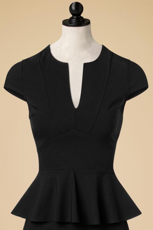 50s Karen Peplum Pencil Dress In Black