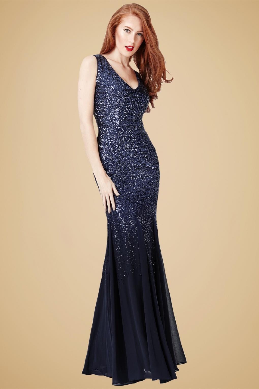 50s Mae Glitter Maxi Dress in Navy