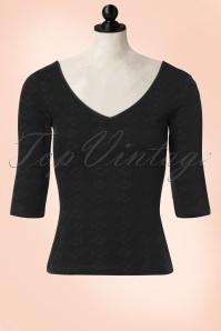 50s Carla Floral Top in Black