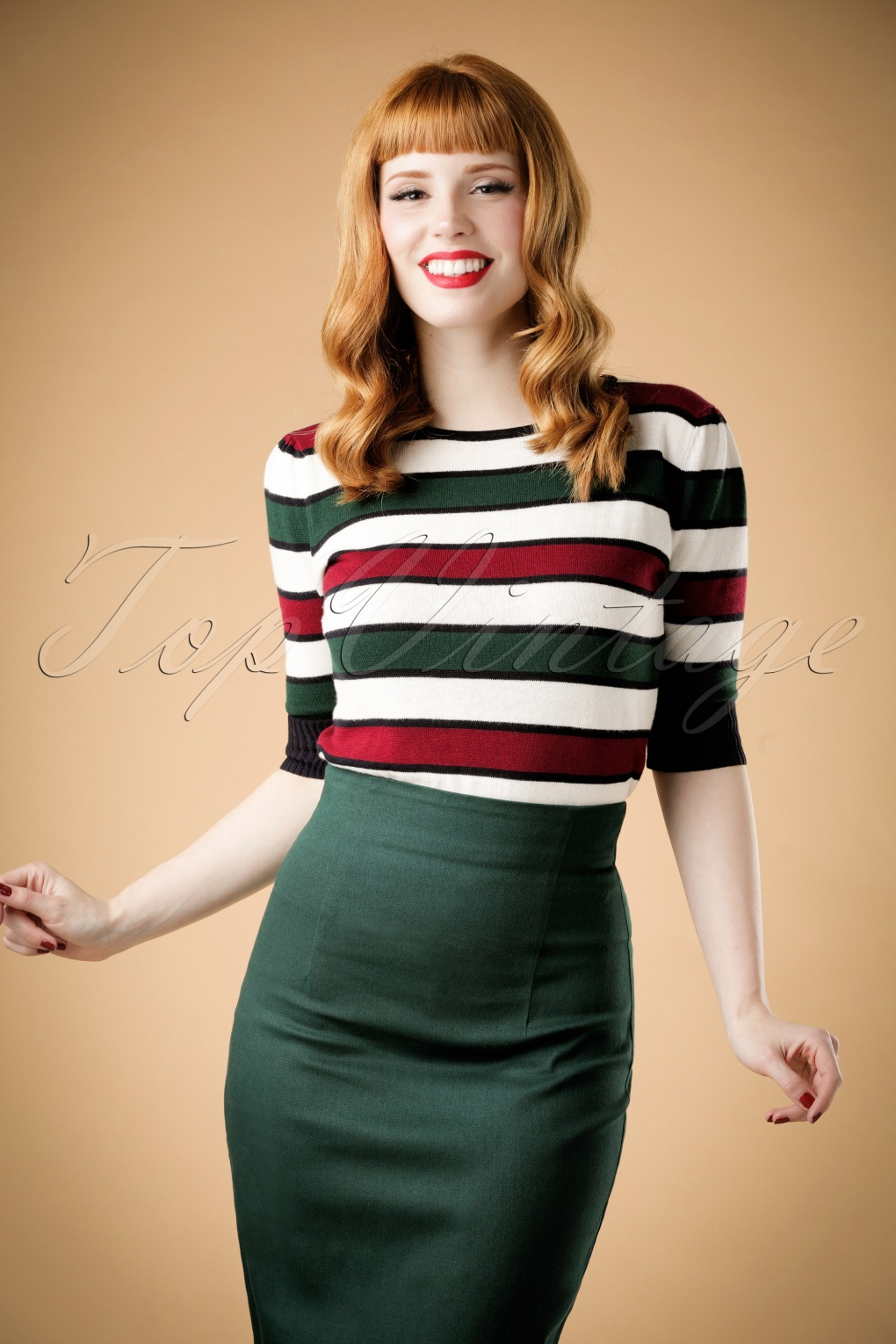 1960s -1970s Blouses, Shirts and Tops 60s Chrissie Striped Jumper in Green and Red £40.00 AT vintagedancer.com