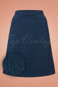 60s Pierre Zigzag Skirt in Denim Blue
