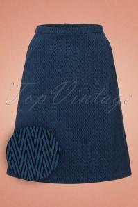60s Pierre Zigzag Skirt in Denim Blue
