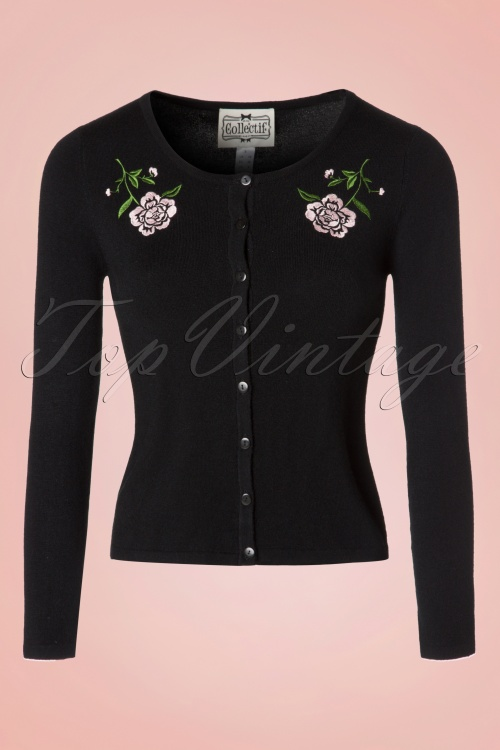 Collectif Clothing Jo Vintage Rose Cardigan 18899 20160601 0007w