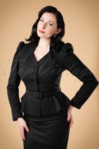 40s Diana Herringbone Blazer Jacket in Black
