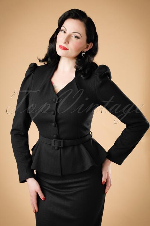 Collectif Clothing Diana Herringbone Blazer in Black 18925 20160602 modelw