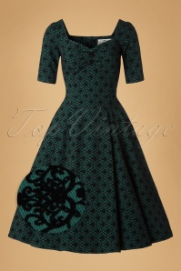 Collectif Clothing Dolores Doll Half Sleeve Brocade Swing Dress 18946 20160601 0005wv