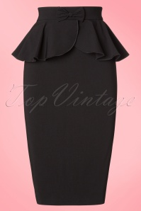 50s Pepper Peplum Pencil Skirt in Black