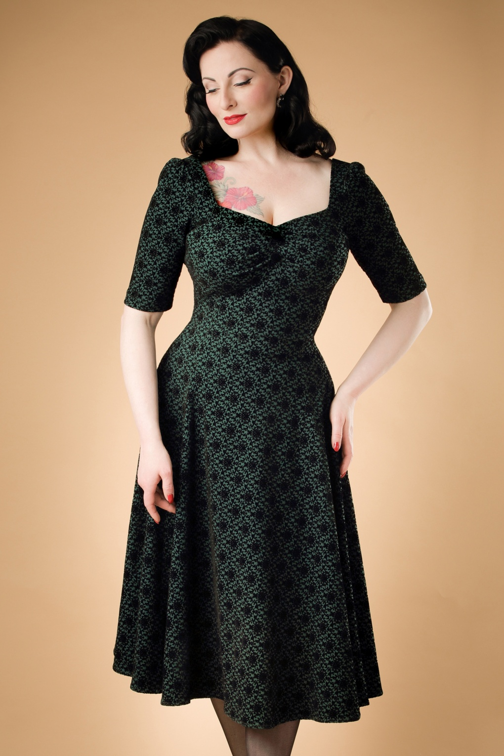 50s Dolores Brocade Doll Dress in Green