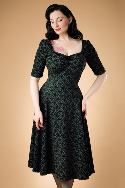 Collectif Clothing Dolores Doll Half Sleeve Brocade Swing Dress 18946 20160601 modelc