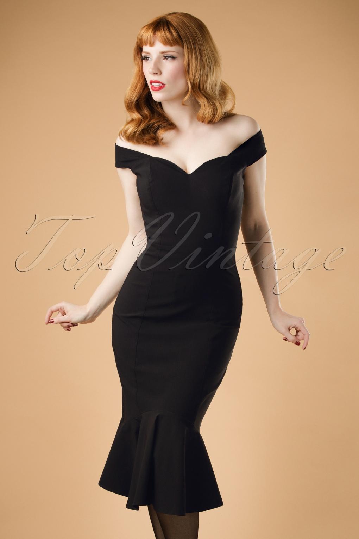 50s Josephine Fishtail Dress In Black