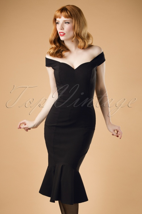 Collectif Clothing Josephine Fishtail Dress in Black 18868 20160531 modelcw