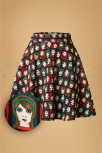 60s Gail Face Flared Skirt in Multi