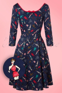 50s Willow Paper Pin Up Doll Dress in Navy