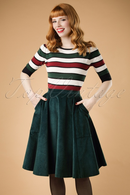 Bright and Beatiful Tia Middy Skirt in Green 18826 20160531 model1W