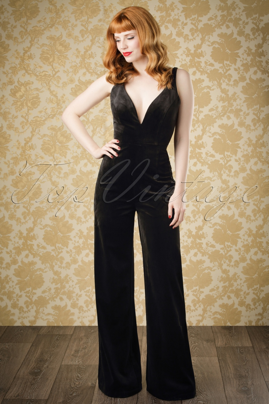 Vintage High Waisted Trousers, Sailor Pants, Jeans 70s Sasha Velvet Jumpsuit in Black £71.88 AT vintagedancer.com
