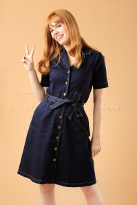70s Lana Denim Dress in Ink Blue