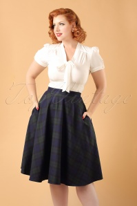 Dancing Days by Banned Apple of my Eye Swing Skirt in Green and Blue ModelfotoCropW