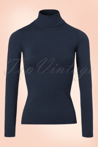 60s Tova Turtleneck Top in Navy