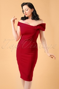 50s Vivian Pencil Dress in Lipstick Red