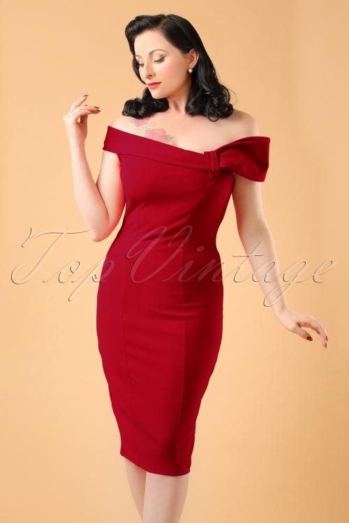 Vintage Chic Red Off Shoulder Pencil Dress 100 20 19644 20160831 002ModelCropMet