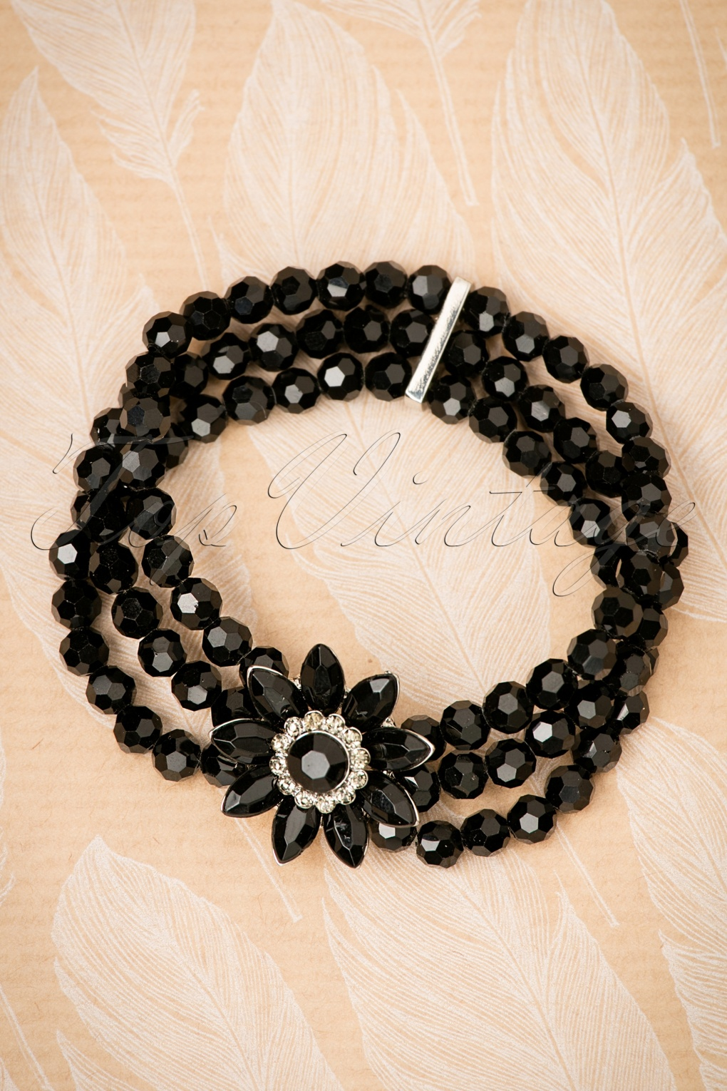 Vintage Style Jewelry, Retro Jewelry 50s Audrey Jet Flower Bracelet in Black £26.28 AT vintagedancer.com