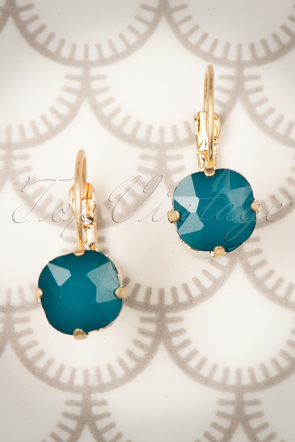 1950s Costume Jewelry 50s Vintage Lucinda Earrings in Teal £17.33 AT vintagedancer.com