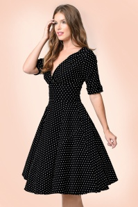 50s Delores Polkadots Swing Dress in Black