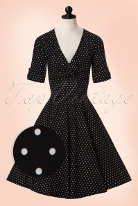 Unique Vintage Black and White Polkadot Swing Dress 102 14 20002 20161003 0012wvdoll