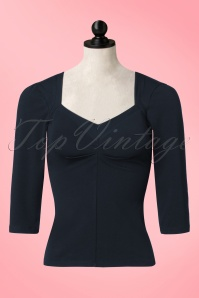 50s Asma Beth Top in Navy