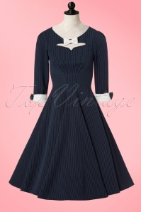 Miss Candyfloss TopVintage Exclusive Navy Pinstripe Swing Dress 102 39 19342 20161003 0021pop