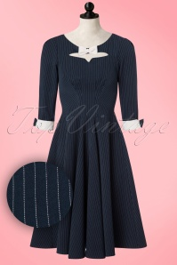 Miss Candyfloss TopVintage Exclusive Navy Pinstripe Swing Dress 102 39 19342 20161003 0003pop